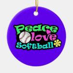 Paz, amor, softball adorno redondo de cerámica