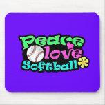 Paz, amor, softball alfombrilla de raton