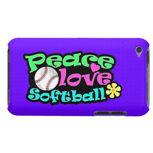 Paz, amor, softball barely there iPod protectores