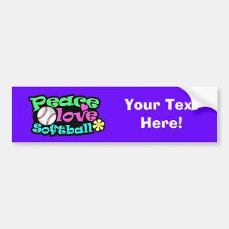 Paz, amor, softball etiqueta de parachoque