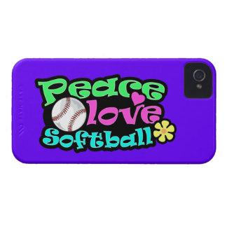 Paz, amor, softball Case-Mate iPhone 4 fundas