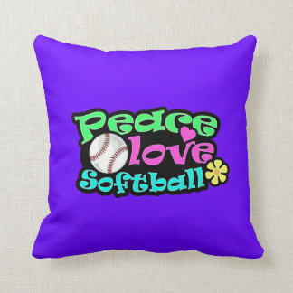 Paz, amor, softball cojín