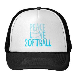 Paz, amor, softball gorras
