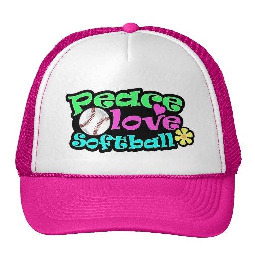 Paz, amor, softball gorro