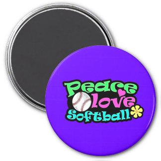 Paz, amor, softball imán redondo 7 cm
