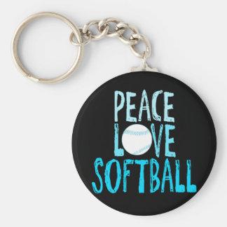 Paz, amor, softball llavero redondo tipo pin