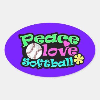 Paz, amor, softball pegatina ovalada