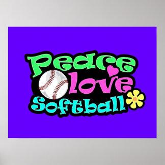 Paz, amor, softball póster