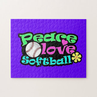 Paz, amor, softball puzzle con fotos