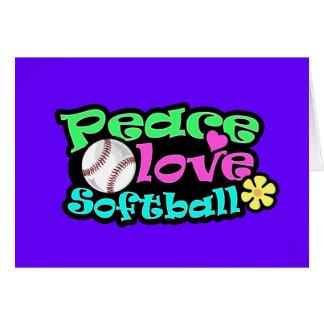 Paz, amor, softball tarjeta de felicitación