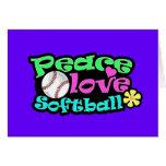 Paz, amor, softball tarjeton