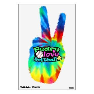 Paz, amor, softball vinilo decorativo