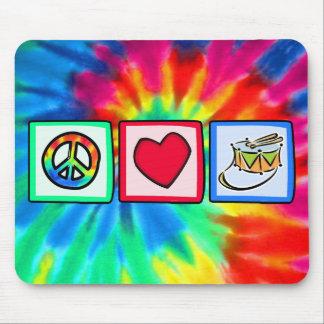 Paz amor tambor tapetes de ratones