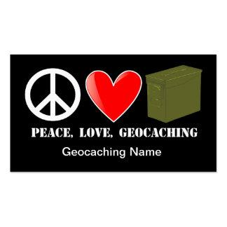 Paz, amor, tarjeta del escondite de Geocaching Tarjetas De Visita
