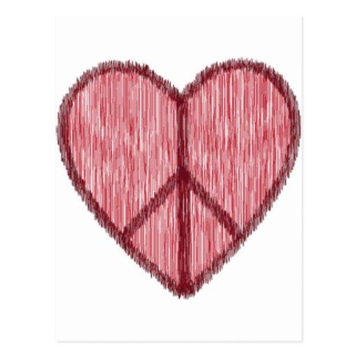 Paz, amor, tarjetas del día de San Valentín Tarjeta Postal