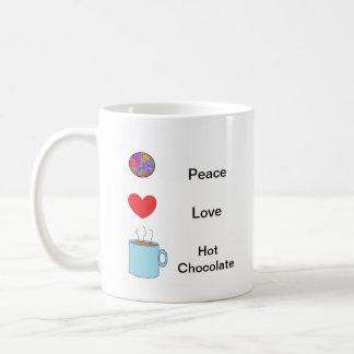 Paz amor taza del chocolate caliente