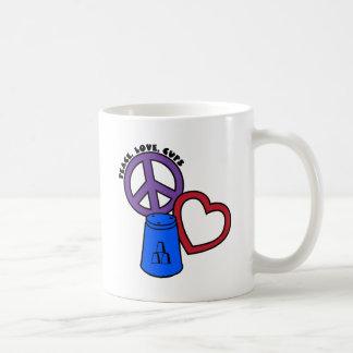 Paz, amor, tazas, azules taza básica blanca