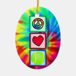 Paz, amor, tenis adorno navideño ovalado de cerámica