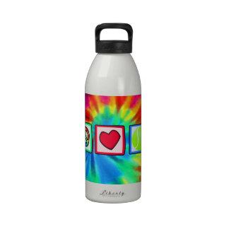 Paz, amor, tenis botella de agua reutilizable