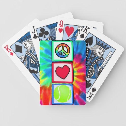 Paz, amor, tenis baraja de cartas