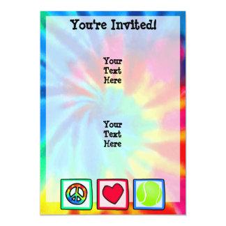 Paz, amor, tenis invitación 12,7 x 17,8 cm