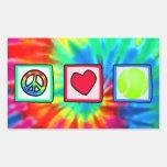 Paz, amor, tenis rectangular pegatinas
