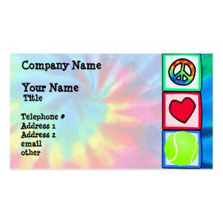 Paz, amor, tenis tarjetas de visita