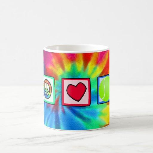 Paz, amor, tenis tazas de café