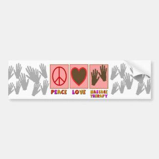 Paz, amor, terapia del masaje pegatina de parachoque