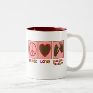 Paz, amor, terapia del masaje taza