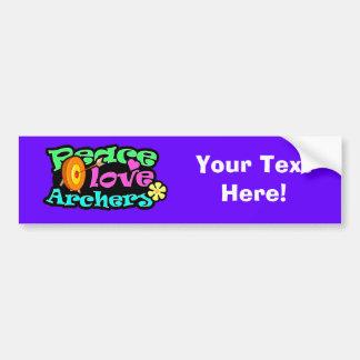 Paz, amor, tiro al arco etiqueta de parachoque
