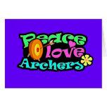 Paz, amor, tiro al arco felicitacion