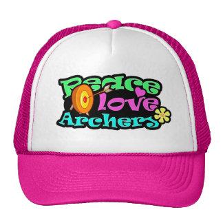 Paz, amor, tiro al arco gorras de camionero