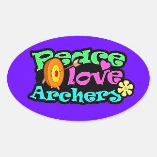 Paz, amor, tiro al arco pegatina ovalada