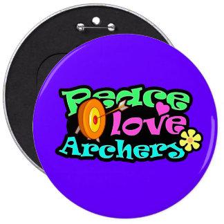 Paz, amor, tiro al arco pin redondo de 6 pulgadas