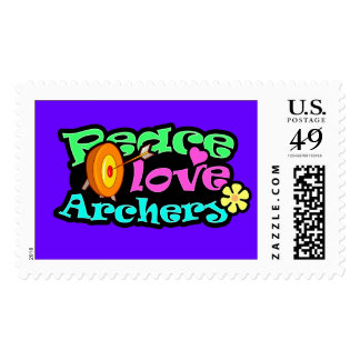 Paz, amor, tiro al arco sellos postales