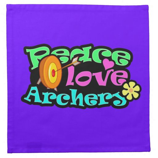 Paz, amor, tiro al arco servilletas de papel