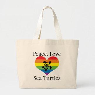 Paz. Amor. Tortugas de mar Bolsa Tela Grande