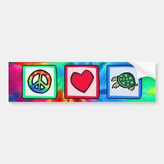 Paz amor tortugas etiqueta de parachoque
