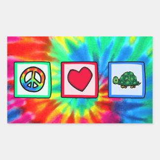 Paz, amor, tortugas pegatina rectangular