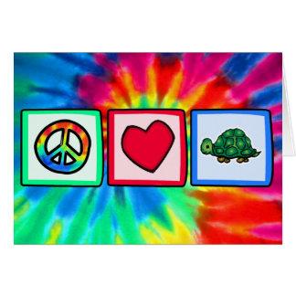 Paz, amor, tortugas tarjeta de felicitación