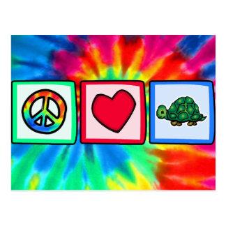 Paz, amor, tortugas tarjeta postal