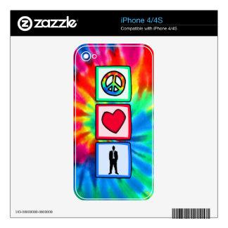 Paz amor trabajo calcomanías para el iPhone 4