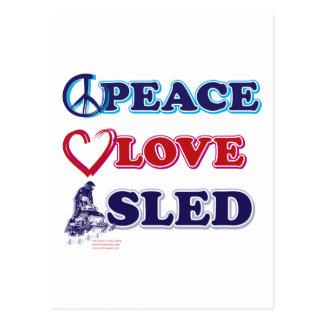 Paz-Amor-Trineo-en-Oscuro Tarjetas Postales