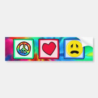 Paz amor tristeza pegatina de parachoque