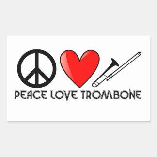 Paz, amor, Trombone Pegatina Rectangular