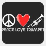 Paz, amor, trompeta pegatina cuadrada