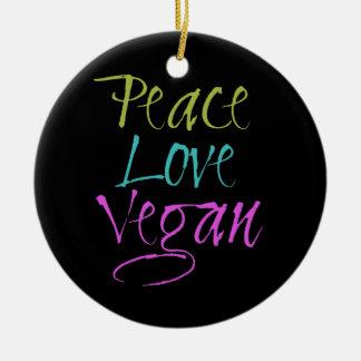 Paz, amor, vegano adorno navideño redondo de cerámica