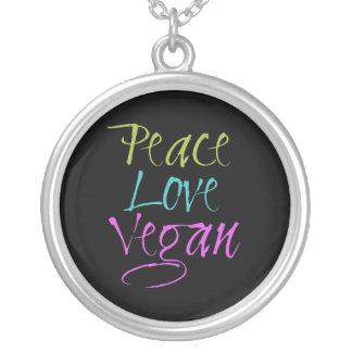 Paz, amor, vegano colgante redondo