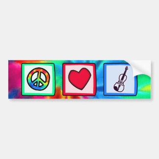 Paz, amor, violines etiqueta de parachoque